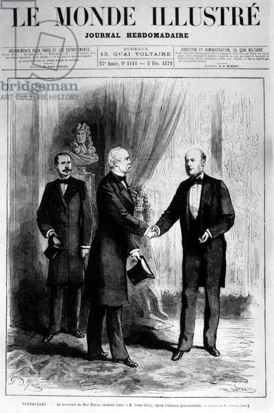 "The Marshal of Mac Mabon visiting Mr. Jules Grévy, after the presidential election in the ""World Illustré"" of February 8, 1879."