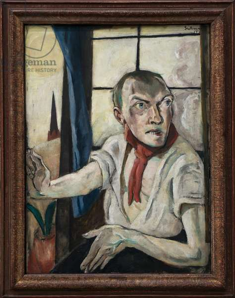 Self Portrait with Red Scarf, 1917 - by Max Beckmann - Staatsgalerie - Stuttgart - Expressionism - Oil on canvas, 80x60 cm. - Self-portrait. Painting by Max Beckmann (1884-1950), Oil On Canvas, 1923. German art, 20th century, expressionism. Staatsgalerie - Stuttgart -