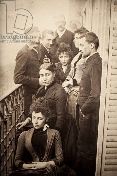 The Claudel family, Jessie Lipscomb, Ferdinand de Massary and his father on the balcony of the apartment of 31 boulevard de Port Royal. (In the foreground: Louise (b. 1866), behind her, Madame Claudel (b. Louise Athanaise Brains in 1840) and Camille (1864-1943). Around them, from left to right, Louis Prosper Claudel (his father, 1826-1913), Paul (his brother, 1868-1955), Alphonse de Massary (d. 1874), Jessie Lipscomb (1861-1952) and Ferdinand (Louise's wife, 1855-1896)). Photograph in 1887, by William Elborne. Musee des Beaux Arts de Poitiers (France).