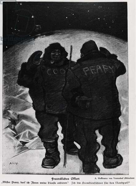 Mr. Cook and Mr. Robert Edwin Peary in the conquest of the pole - Jugend, 1909.