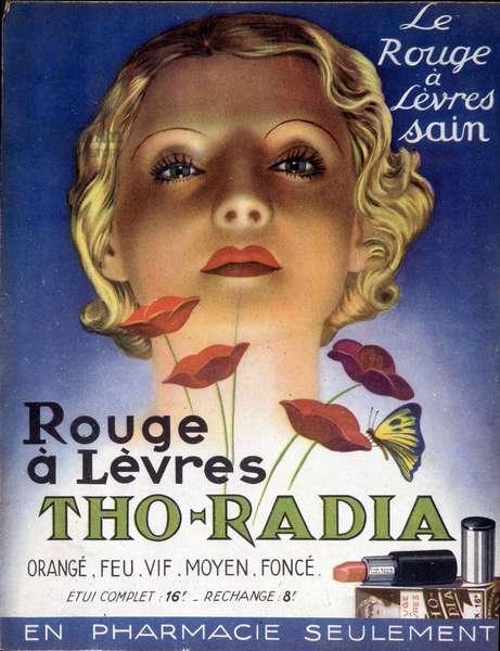Advertising for Radioactive Lipstick Tho-Radia, a beauty product based on radium, 1930s (colour litho)