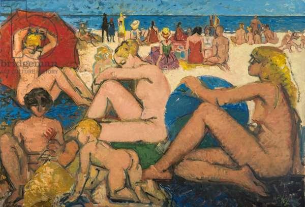 Ballon bleu plage (painting)