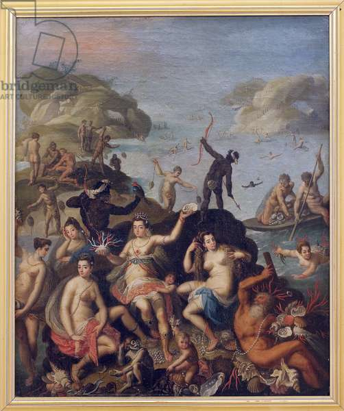 Pearl fishing. Allegorical representation of the discovery of the New World. Aquatic and Indian nymphs with the riches of the sea, coral, pearl shells. Painting around 1590, after Jacopo Zucchi (1541-1589/90). Italian art, 16th century. Museum of Fine Arts in Clermont Ferrand.