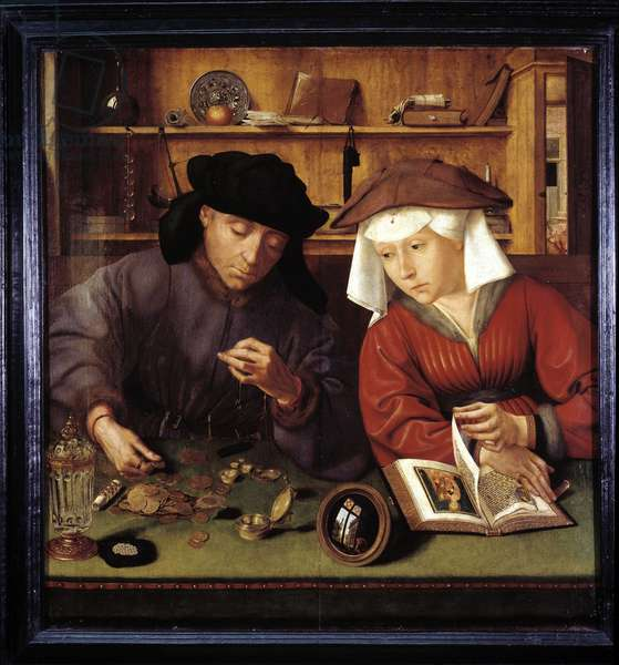 """The money changer and his wife The lender and his wife"""""""" by Quentin Metsys, 1514, Musée du Louvre"""