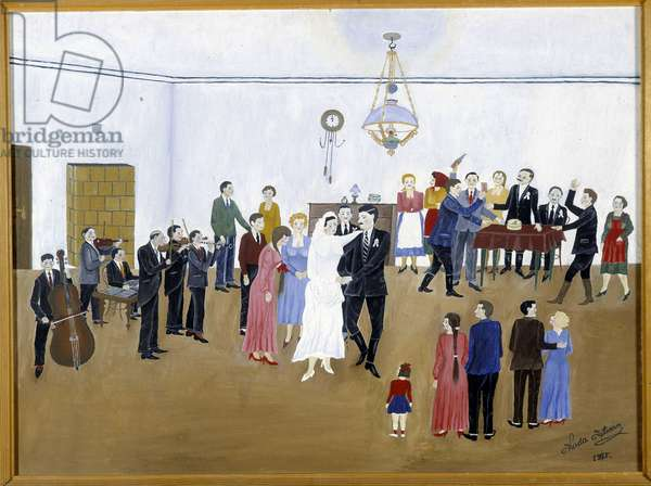 Hungarian naive painting - Koda, the dance of the bride, 1975.Mandatory mention: Rights Reserved.