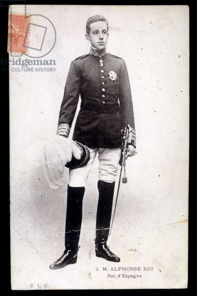 Portrait of Alfonso XIII, King of Spain - postcard, 20th century