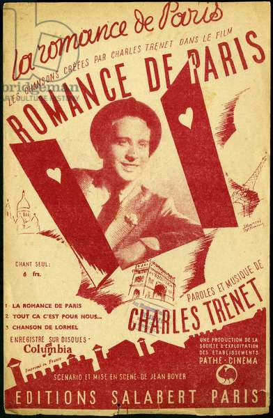 """Portrait of singer Charles Trenet (1913-2001) to illustrate the cover of the libretto containing the lyrics and music of the song """""""" Romance de Paris"""""""", for the film of the same title, of 1941, by Jean Boyer (1901-1965). Editions Salabert, Paris."""