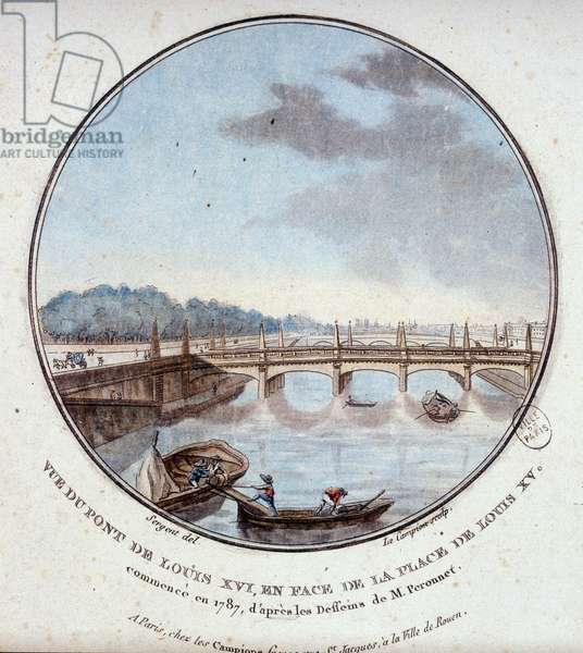 View of the bridge of Louis XVI, opposite the place of Louis XV, started in 1787 according to the drawings of Mr. Peronnet. In prittoresque views of the main buildings of Paris by Sergeant, 1787, BHVP.