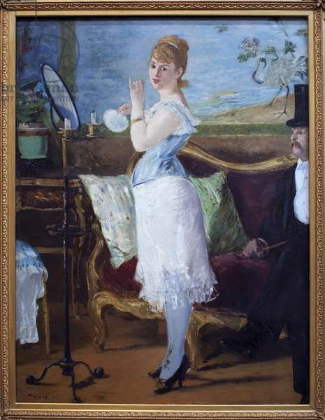 Babe. (Portrait of actress Henriette Hauser, known as Citron, in the role of Nana, prostitute character in novels by Emile Zola (1840-1902). Painting by Edouard Manet (1832-1883), oil on canvas, 1877. French Art, 19th century, Impressionism. Oil on canvas. Dim. 150 x 116 cm. Kunsthalle, Hamburg, Germany.