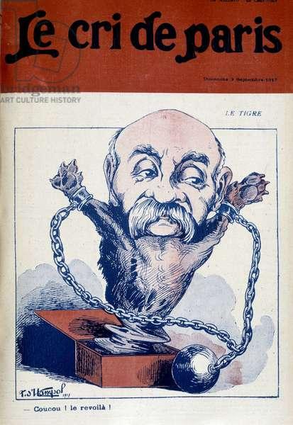 """Le Tigre (chained), cartoon on Clemenceau - in """""""" Le Cri de Paris"""""""""""" of 09/09/1917."""