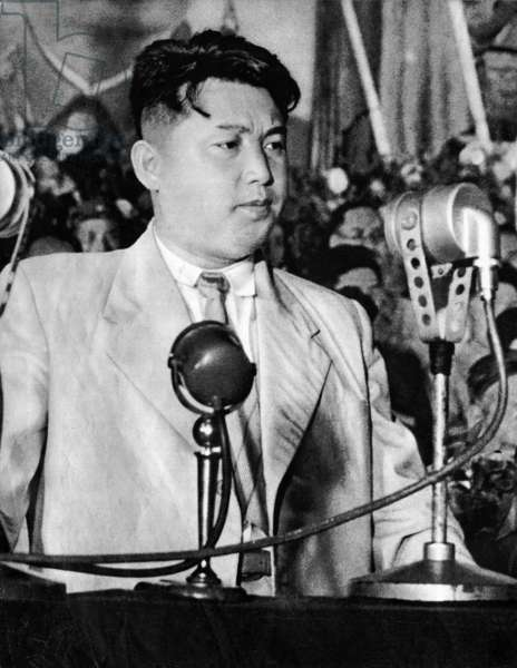 "Portrait of Kim Il Sung, president of the Democratic People's Republic of Korea (North Korea), in 1950, from ""Korean War"", China 1959 (b/w photo)"
