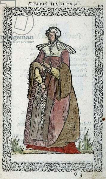 "Woman picarde - in """" Habits et effigies"""" by Jean Sulperius, 1572"