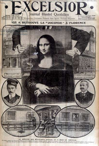 """We have found the Mona Lisa in Florence"", front page of 'Excelsior', 13th December 1913 (litho)"