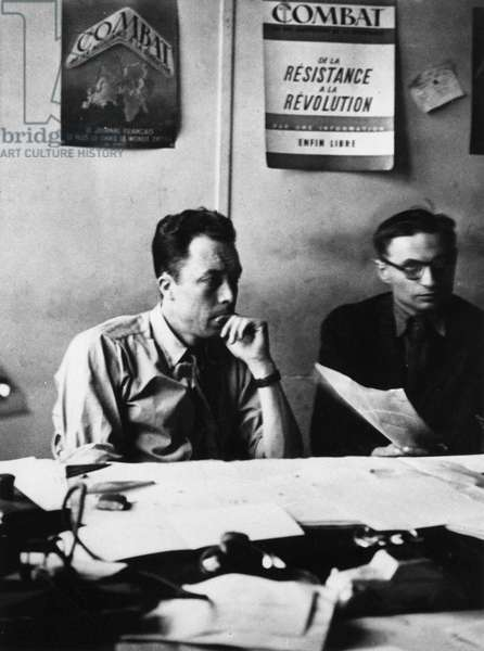 """Albert Camus at the newspaper """"Combat"""""""" in Paris - photography, 1944, coll. S. Agnely."""