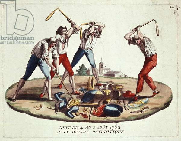 Night of 4-5 August 1789, or patriotic delirium, late 18th century (engraving)