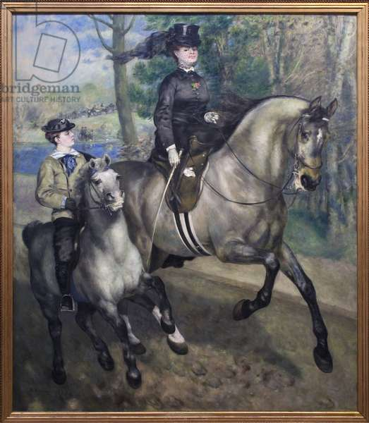 Riding at the Bois de Boulogne (Hauts de Seine). Painting by Auguste Renoir (1841-1919), Oil On Canvas, 1873. French Art, 19th century, Impressionism. Kunsthalle, Hamburg, Germany.