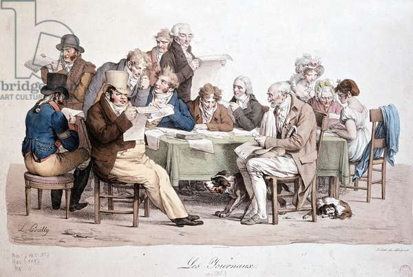 """Men reading newspapers - engraving Louis Boilly entitled """""""" Les journaux"""""""", 1823, Musée Carnavalet."""