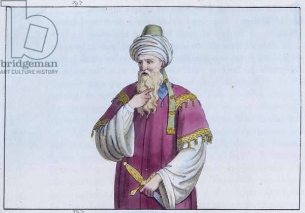 "Saladin (1138-1193) (Salah al Din Yusuf al-Ayyubi (al Ayyubi), vizir, recognized for the Sultan of Egypt, 1173 - in """" The Ancient and Modern Costume"""" by Dr. Jules Ferrario, d.Milan, 1819-1820."