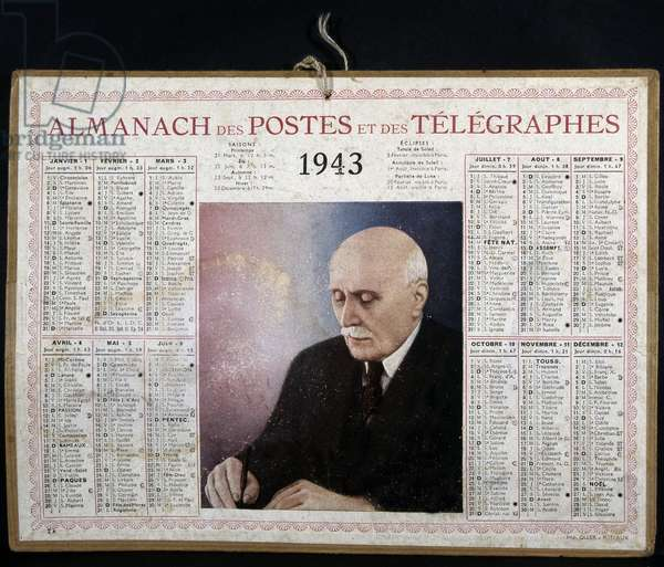 Calendar of posts for the year 1943 presenting a portrait of Marshal Pétain.