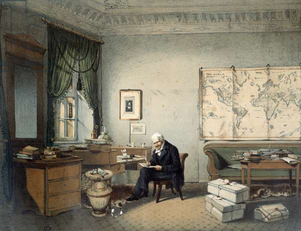 Alexander Von Humboldt (Alexander of Humboldt, 1769-1859), naturalist and traveler, in his office - lithography, 19th century