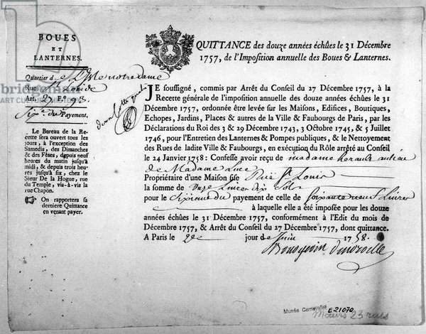 Receipt from the Office of Revenue concerning the payment of Taxes for the Mud and Lanterns, dated December 1757.