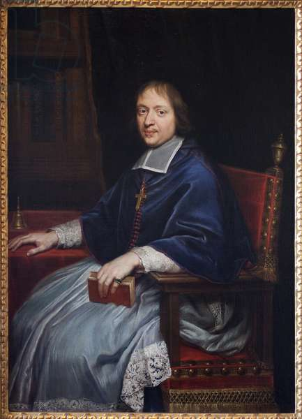Portrait of Jacques Benigne (Jacques-Benigne) Bossuet (1627-1704), during his first appointment as eveque of Condom (Gers), in his library. Painting by Pierre Mignard (1612-1695), oil on canvas, 1669. French art, 17th century. Bossuet Museum, Meaux.