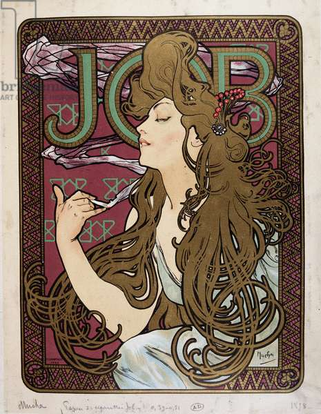 """Advertising poster for """"Job Cigarette Paper"""" by Mucha, 1898."""