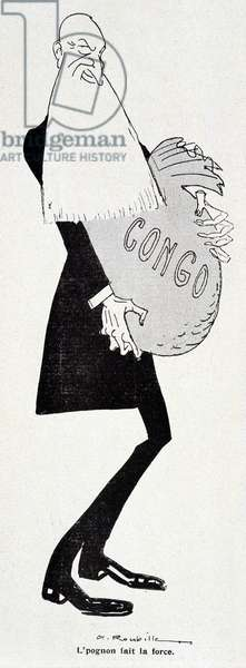 """Cartoon by Leopold II (with bag d'or marked Congo) - by Auguste Roubille (1872-1955), in """""""" Le Cri de Paris"""""""", 1908. Careful! Use of this work may be subject to a third party authorization request or additional fees"""