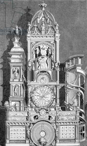 The astrological clock of Strasbourg, executed in 1573 by Conrad Dasypodius - engraving, 19th century