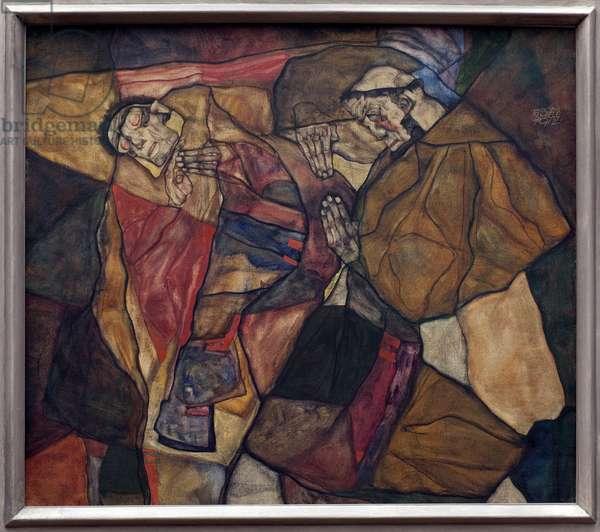 Agony. Painting by Egon Schiele (1890-1918), Oil On Canvas 1912. Austrian art, 20th century. Neue Pinakothek, Munich (Germany).