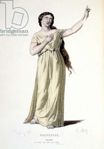 Costume design for Pauline in 'Polyeucte', 1884 (colour litho)