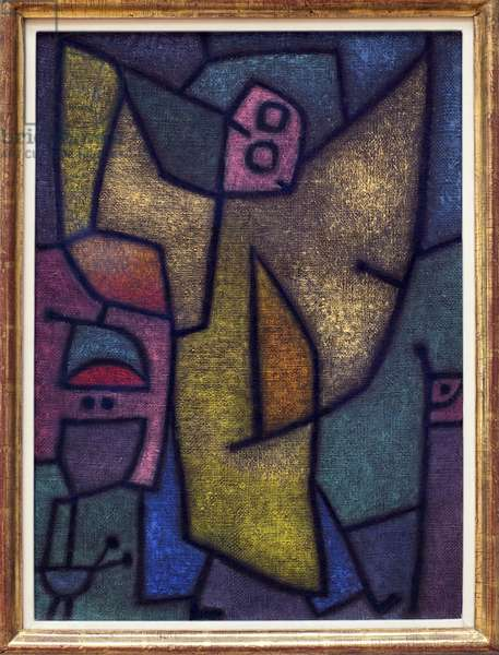 Angelus militans. Painting by Paul Klee (1879-1940), oil, drawing at the detrempe on jute, on a background of glue, 1940. German Art, 20th century. Staatsgalerie, Stuttgart (Germany).