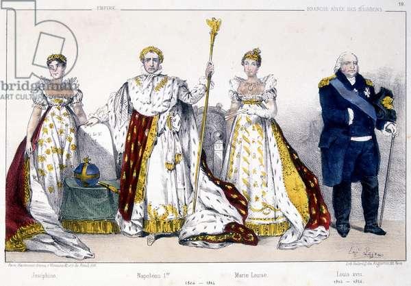 """Joséphine, Napoleon 1er, Marie Louise and Louis XVIII - in """"La Monarchie francaise en estampes"""""""", 19th century"""