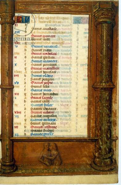 Calendar and sign of the Gemeaux - Miniature, Middle Ages (ref. 135, 003r): Request permission from the Municipal Library of Toulouse (tel: 05 62 27 66 66)