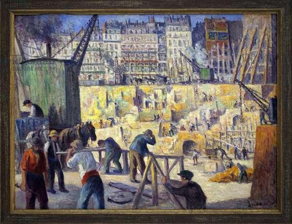 Construction site in Paris. Painting by Maximilian Luce (1856-1941), oil on canvas, 1907, 20th century french art. Musee des Beaux Arts de Rouen.