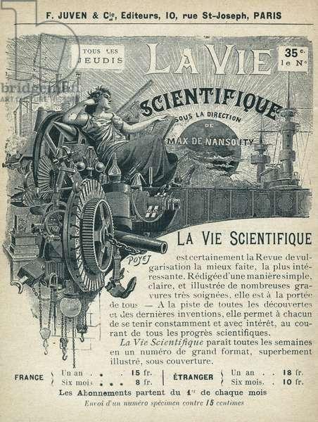 """La vie scientifique, journal de popularization scientifique. Publication in """"Tales de Pantruche et d'ailleurs"""" by Tristan Bernard, Petite Collection du """""""" Rire"""", F. Juven & Compagnie, Paris, 1897."""