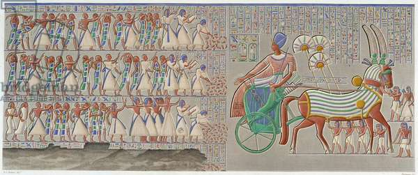 """Thebes, Medynet-Abu: coloured bas-relief, carved in the south gallery of the peristyle of the palace - in """""""" Egyptian Antiquites"""""""", T.II"""
