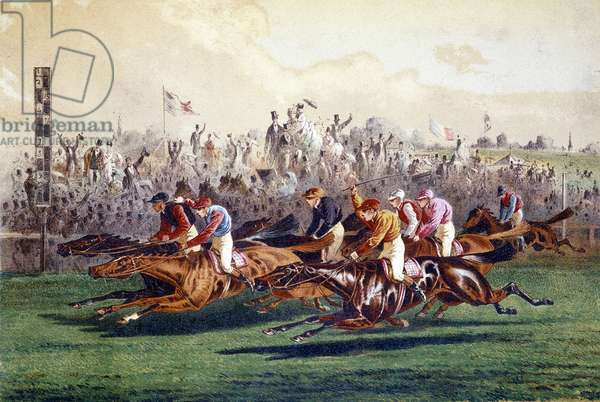 Arrival of a horse race. 19th century illustration.