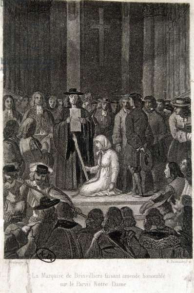 Affair of the Poisons: Madame de Brinvilliers (Marie Madeleine d'Aubray, Marquise de Brinvilliers, 1630-1676) amending honourable on the court of Notre-Dame. Engraving by Boulanger. 19th century.