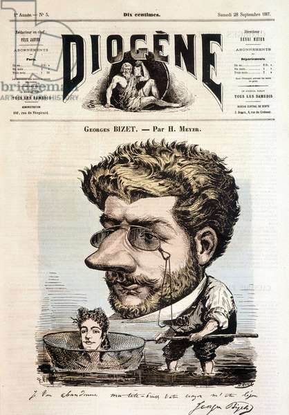 """Portrait of Georges Bizet by Meyer - in """""""" Diogenes"""""""", 28/09/1867."""