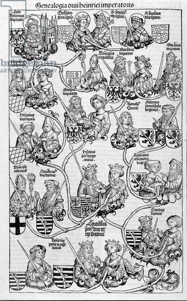 "Family tree. In """" Nuremberg Chronicles"", 1593."