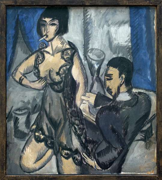 Couple in a room. Painting by Ernst Ludwig Kirchner (1880-1938), Oil On Canvas, 1912. German art, 20th century, expressionism. Kunsthalle Hamburg (Germany).