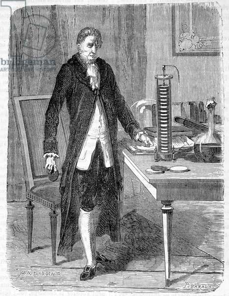 Alessandro (Alexandre) Volta built, in 1799, the electro-motor or electric battery - engraving, 19th century