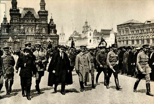 Lenin (Vladimir Ilyich Ulyanov said, 1870-1924) with a group of officers reviews the units of students of the courses of general military training, Red Square, Moscow, May 25, 1919 -