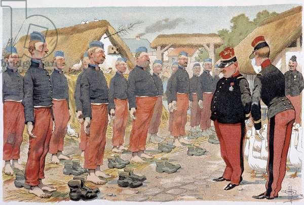 "La revue des pieds - in """" Album militaire"""" by Albert Guillaume (1873-1942), ca. 1900"