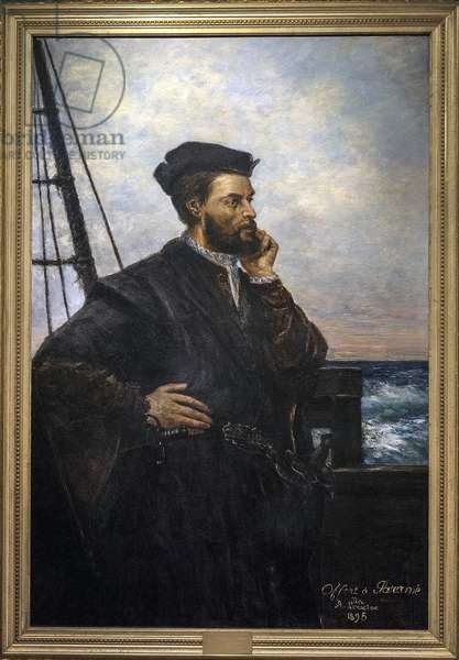 Portrait of Jacques Cartier (1491-1557), French navigator and explorer. painting by Auguste Lemoine 1848-1909 - 1895 SAINT MALO museum of history