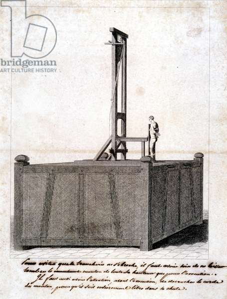 Guillotine on a stage and condemned attached to the board - technical drawing with instructions for use noted by hand under engraving