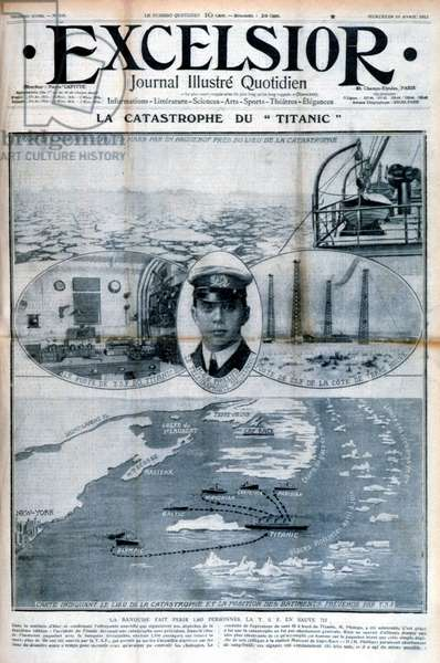 "The ""Titanic"" disaster: The ice pack killed 1,465 people. La T.S.F. en sauve 715 - in """" Excelsior"""" of 17 April 1912"