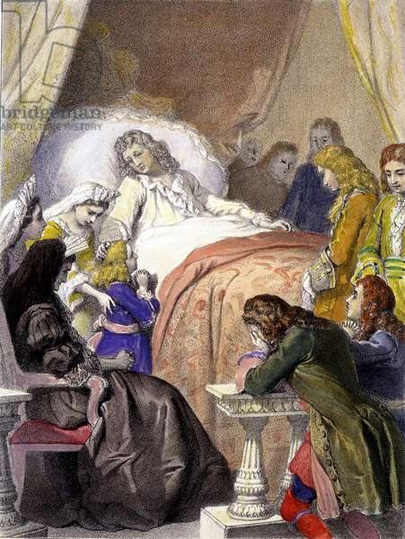 Death of Louis XIV (1638-1715), King of France, on 1 September 1715 in Versailles and the future Louis XV (1710-1774).