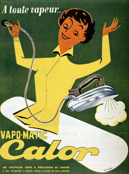 Advertising for the iron Vapo-matic Calor, 1955 (lithograph)